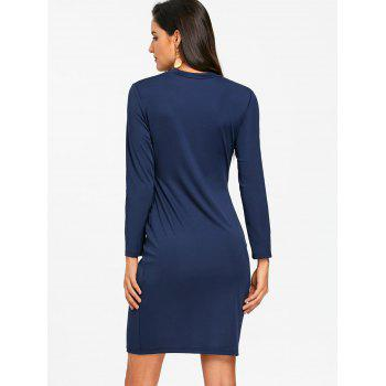 Tight Lace Up Hollow Out Club Dress - PURPLISH BLUE PURPLISH BLUE