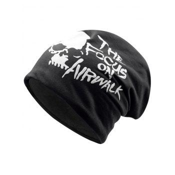 Soft Skull and Letter Pattern Embellished Slouchy Beanie - BLACK BLACK