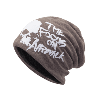 Soft Skull and Letter Pattern Embellished Slouchy Beanie - LIGHT COFFEE