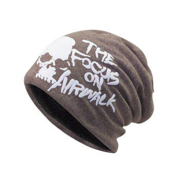Soft Skull and Letter Pattern Embellished Slouchy Beanie - LIGHT COFFEE LIGHT COFFEE