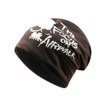 Soft Skull and Letter Pattern Embellished Slouchy Beanie - ESPRESSO ESPRESSO