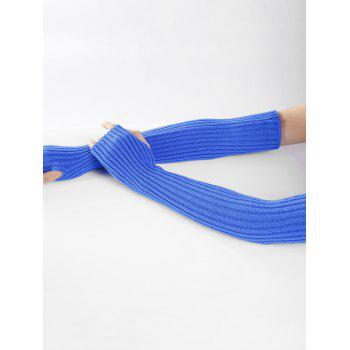 Soft Vertical Striped Pattern Crochet Knitted Arm Warmers - BLUE