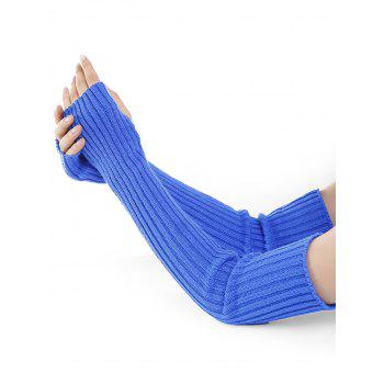 Soft Vertical Striped Pattern Crochet Knitted Arm Warmers - BLUE BLUE