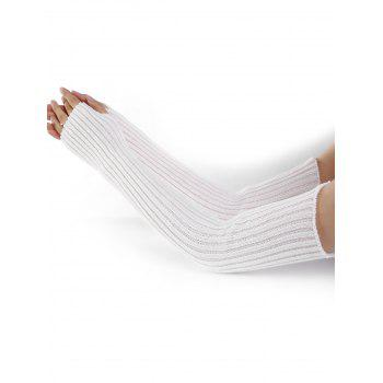 Soft Vertical Striped Pattern Crochet Knitted Arm Warmers - WHITE WHITE