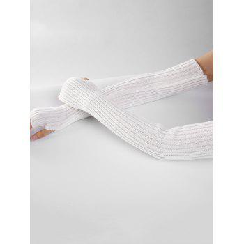 Soft Vertical Striped Pattern Crochet Knitted Arm Warmers - WHITE