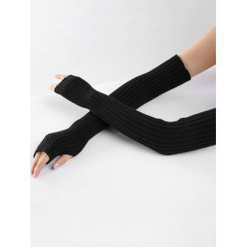 Soft Vertical Striped Pattern Crochet Knitted Arm Warmers - BLACK