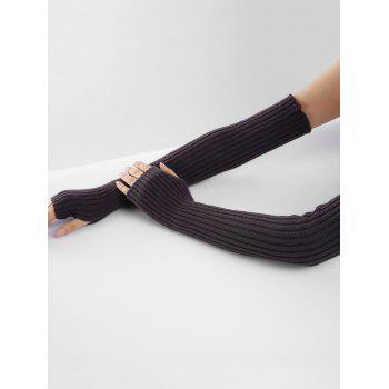 Soft Vertical Striped Pattern Crochet Knitted Arm Warmers - ESPRESSO