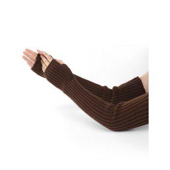 Soft Vertical Striped Pattern Crochet Knitted Arm Warmers - COFFEE COFFEE