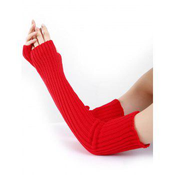 Soft Vertical Striped Pattern Crochet Knitted Arm Warmers - RED RED