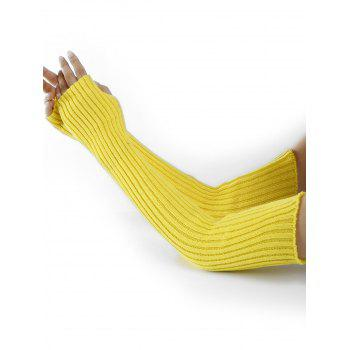 Soft Vertical Striped Pattern Crochet Knitted Arm Warmers - FLUORESCENT YELLOW FLUORESCENT YELLOW