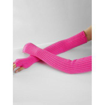 Soft Vertical Striped Pattern Crochet Knitted Arm Warmers - SANGRIA
