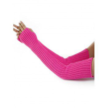 Soft Vertical Striped Pattern Crochet Knitted Arm Warmers - SANGRIA SANGRIA