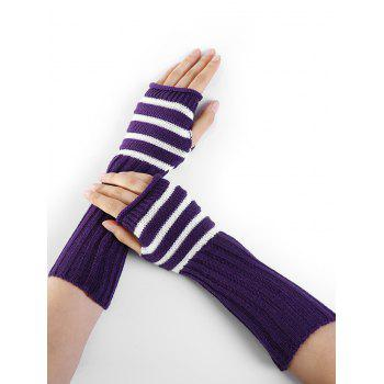 Striped Pattern Knitted Exposed Finger Gloves - PURPLE PURPLE