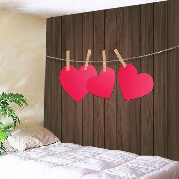 Wood Grain Heart Printed Valentine's Day Wall Tapestry - COLORMIX W91 INCH * L71 INCH