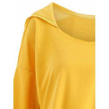 Crinkle Color Block Plus Size Smock Hooded Top - YELLOW 3XL
