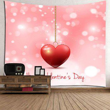 Heart Printed Valentine's Day Wall Tapestry - PINK W91 INCH * L71 INCH