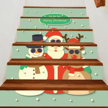 Elk Santa Snowman Patterned Stair Stickers - COLORFUL COLORFUL