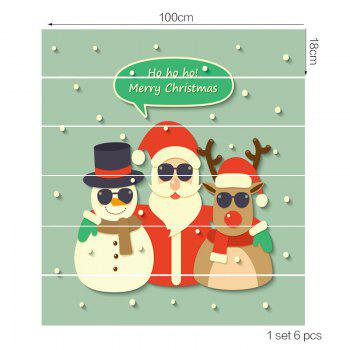 Elk Santa Snowman Patterned Stair Stickers - COLORFUL 100*18CM*6PCS