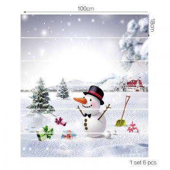 Snowfiled Snowman Present Patterned Stair Art Stickers - WHITE 100*18CM*6PCS