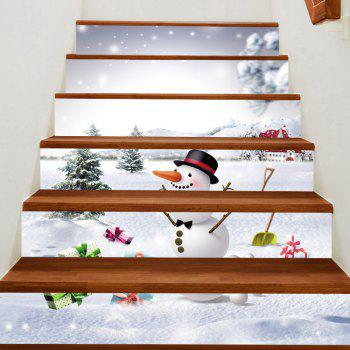 Snowfiled Snowman Present Patterned Stair Art Stickers - WHITE WHITE