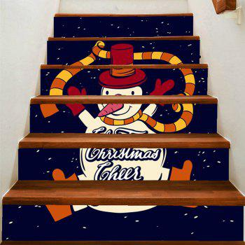 Dancing Snowman Patterned Stair Art Stickers - COLORFUL COLORFUL