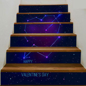 6Pcs Cupid Heart Starry Sky Home Stair Stickers - BLUE BLUE