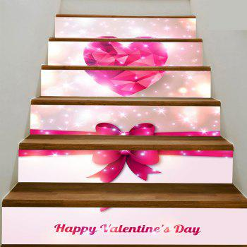 Romantic Heart and Bowknot Print Enviromental Stair Stickers - PINK PINK