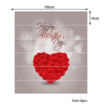 Rose Heart Pattern Decorative Stair Stickers - RED 100*18CM*6PCS
