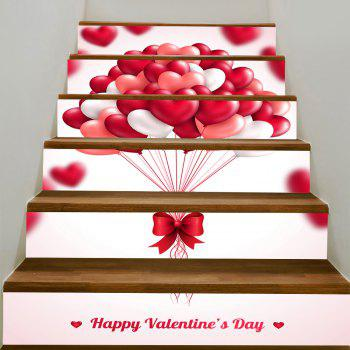 Romantic Heart Balloon Pattern Removable Stair Stickers - PINK PINK
