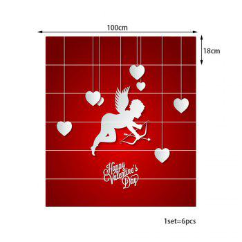 Valentine Theme Cupid Pattern Decorative Stair Stickers - RED RED