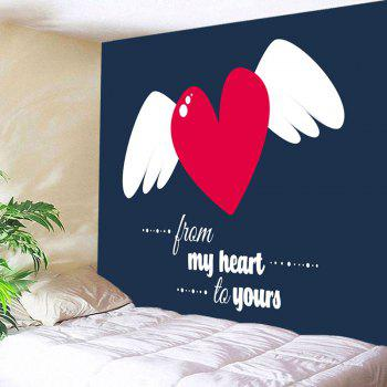 Valentine's Day Heart and Wing Printed Wall Tapestry - CADETBLUE W91 INCH * L71 INCH
