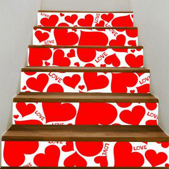 Heart Shape Print Decorative Stair Stickers - WATER RED WATER RED