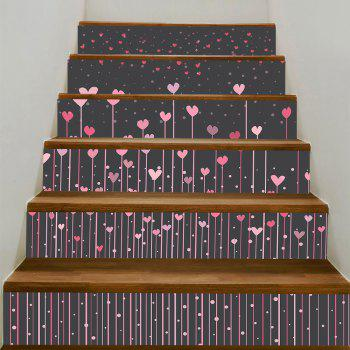 Hearts Hanging Printed Decorative Stair Stickers - PINK PINK