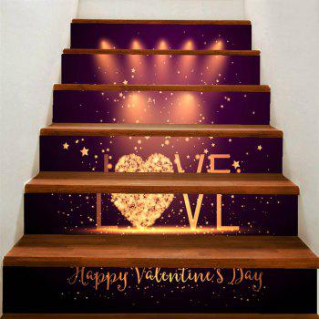 Love Stage Pattern Home Decor Removable Stair Stickers - COLORFUL COLORFUL