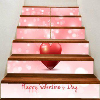 Valentine Theme Hanging Heart Pattern Removable Stair Stickers - PINK PINK
