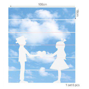 Blue Sky and Lovers Pattern Decorative Stair Stickers - GREY/WHITE GREY/WHITE