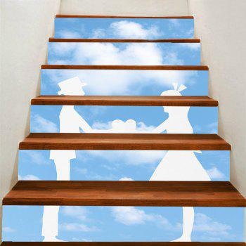 Blue Sky and Lovers Pattern Decorative Stair Stickers - GREY AND WHITE GREY/WHITE