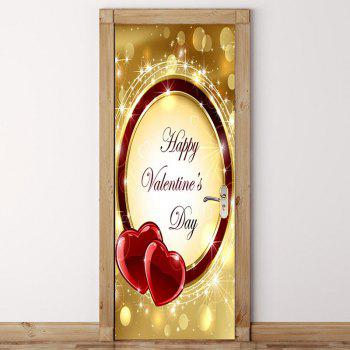 Valentine's Day Heart Ring Door Art Stickers - COLORFUL 38.5*200CM*2PCS