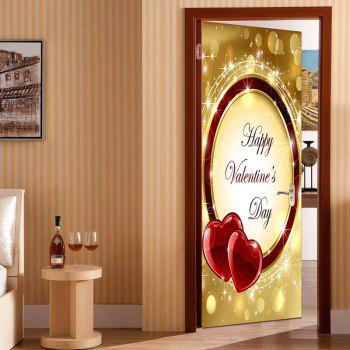 Valentine's Day Heart Ring Door Art Stickers - COLORFUL COLORFUL