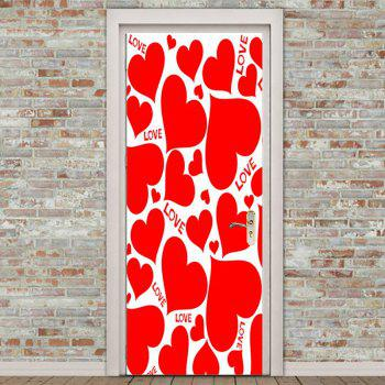Love Heart Shape Embellished Door Stickers - RED 38.5*200CM*2PCS