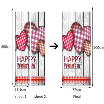 Valentine Love Heart Patterned Door Art Stickers - COLORFUL 38.5*200CM*2PCS