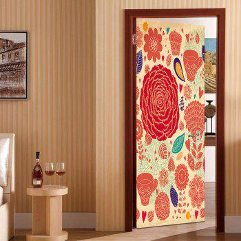 Flourishing Flower Door Art Stickers - COLORFUL COLORFUL