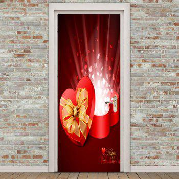 Heart Gift Box Door Art Stickers - COLORFUL COLORFUL
