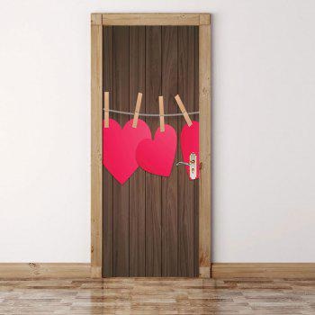 Woodgrain Heart Pattern Valentines Day Door Stickers - COLORFUL 38.5*200CM*2PCS