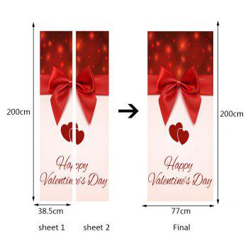 Bowknot Heart Pattern Valentines Day Door Stickers - RED 38.5*200CM*2PCS
