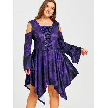 Plus Size Cold Shoulder Lace Up Asymmetric Dress - COLORMIX 4XL