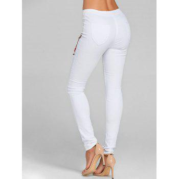 Flower Embroidered Skinny Colored Jeans - WHITE L