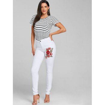 Flower Embroidered Skinny Colored Jeans - WHITE 2XL