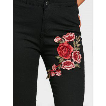 Flower Embroidered Skinny Colored Jeans - BLACK L