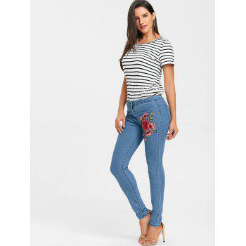 Flower Embroidered Skinny Colored Jeans - BLUE XL